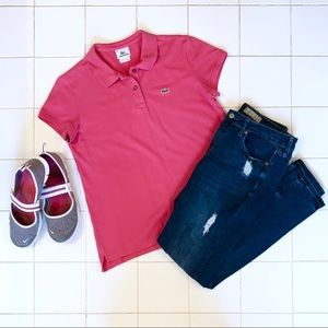 Ladies Pink Lacoste Polo